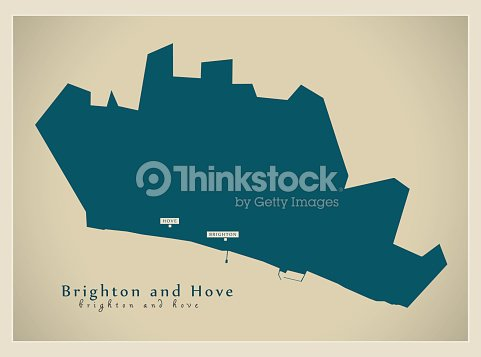 Modern Map Brighton And Hove Unitary Authority England Uk Vector Art