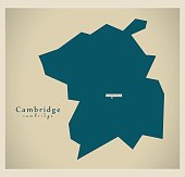 Modern Map - Cambridge City district UK