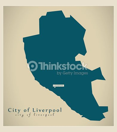 Modern Map City Of Liverpool District Of Merseyside Uk