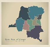 Modern Map - Congo Democratic Republic provinces colored CD
