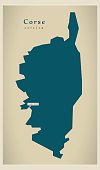 Modern Map - Corse FR France
