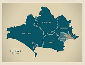 Modern Map - Dorset with districts and unitaries detailed UK