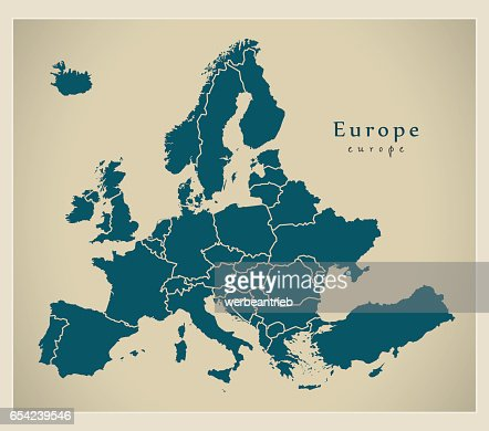 Modern Map - Europe complete with countries : Vector Art