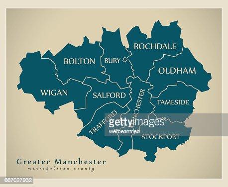 Manchester World Map.Modern Map Greater Manchester Metropolitan County Uk Vector Art