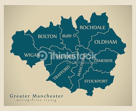 Map Of Uk Manchester.Modern Map Greater Manchester Metropolitan County Uk Stock Vector