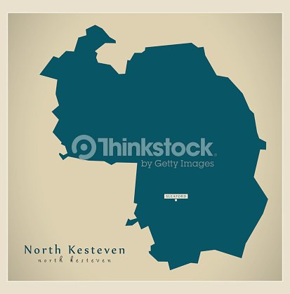 Map Of England Lincolnshire.Modern Map North Kesteven District Of Lincolnshire England Uk