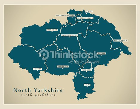 Modern Map North Yorkshire County With Cities And Districts England