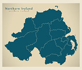 Modern Map - Northern Ireland with new counties since 2015