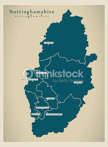 Map Of England Counties And Cities.Modern Map Nottinghamshire County With Cities And Districts England