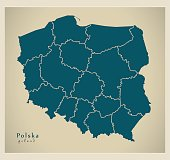 Modern Map - Polska with regions PL