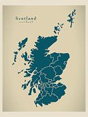 Modern Map - Scotland with regions UK