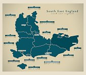 Modern Map - South East England UK