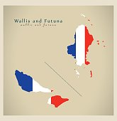 Modern Map - Wallis and Futuna with flag of france WF