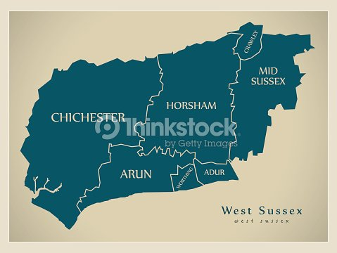 Modern Map West Sussex County With District Captions England Uk