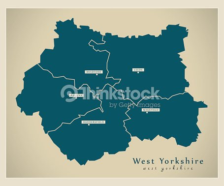 Map Of England Districts.Modern Map West Yorkshire Metropolitan County With Cities And