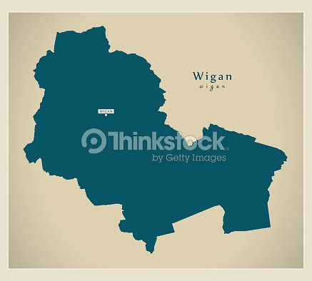 modern map wigan borough greater manchester uk england vector art