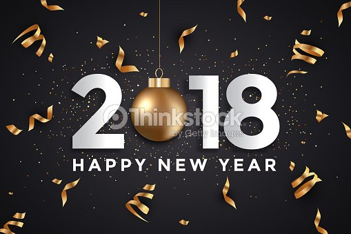 modern merry christmas and happy new year 2018 card vector art