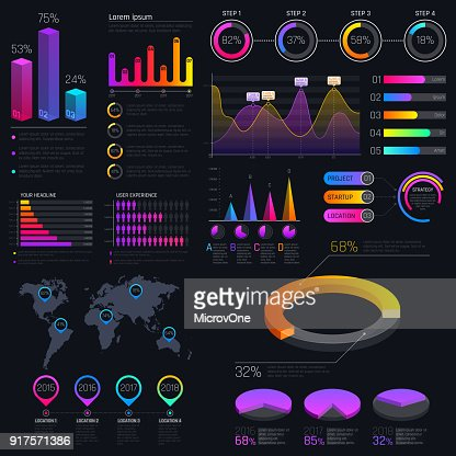 Modern modern infographic vector template with statistics graphs and finance charts : Vector Art