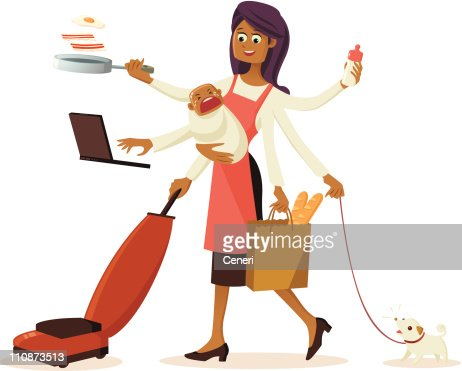 Modern multitasking housewife with multiple hands vector for Modern housewife