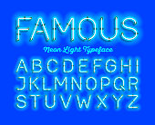 Famous, neon light typeface. Modern neon tube glow font, vector illustration