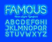 Famous, neon light typeface. Modern neon tube glow font, vector illustration