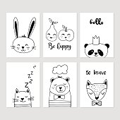 Modern nursery decor black and white hand drawn vector illustrations. Cute animals cards design.