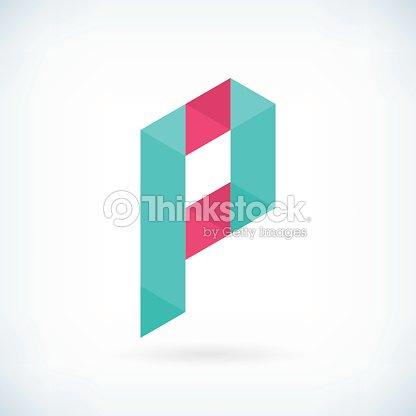 現代的な折り紙レター p アイコンフラットデザイン要素テンプレート