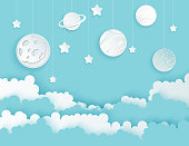 Modern paper art clouds, moon, planets, stars. Cute cartoon fluffy clouds. Pastel colors. Origami style