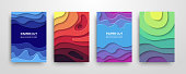 Modern paper cut 3D geometric covers set. Minimal colorful trendy templates design. Cool gradient shapes. Poster background composition. Vector illustration.