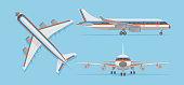 Modern passenger airplane, airliner in top, side, front view. Vector aircraft in flat style. Aircraft flight, airplane transport top view illustration