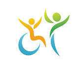 Special Needs People Support In Wheel Chair Symbol Illustration