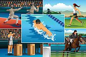 A vector illustration of modern pentathlon sport for sport competition series