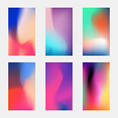 Modern phone vector elegant wallpaper. Blurred multicolored backgrounds with gradient meshes. Multicolor wallpaper for smartphone, blurry paint glowing illustration
