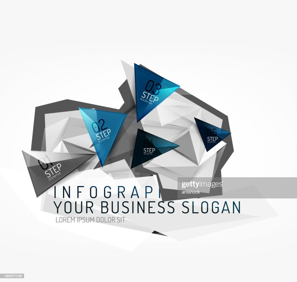 Modern polygonal origami paper infographics : Vector Art