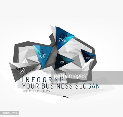 Modern polygonal origami paper infographics : Vector Art