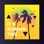 Summer time, Modern poster with palm tree and geometric graphic. Vector illustration.