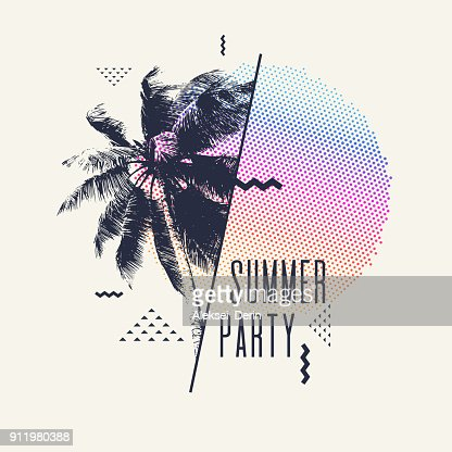 Modern poster with palm tree and geometric graphic : stock vector