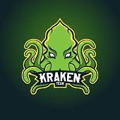 Modern professional  for sport team. Kraken mascot. Octopus, vector symbol on a dark background