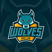 modern professional wolves team sport emblem. angry mascot vector illustration