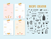 Modern Recipe card template set for cookbook. Menu Creator Vector Illustration.