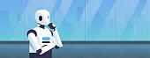modern robot thinking humanoid holding hand chin pondering artificial intelligence digital technology concept cartoon character portrait horizontal vector illustration