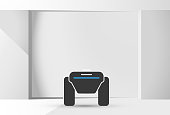 Modern robotic vector illustration background with stylish robot autonomous vehicle, smart home assistant in the white room. Future concept elements design