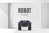 Modern robotic vector illustration background with stylish robot autonomous vehicle, smart home assistant in the white room with text. Future concept elements design