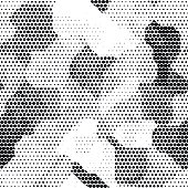 Modern seamless pattern with dots transition halftone in black and white