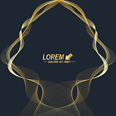 Modern set of vector flyers. Molecule and communication background. Geometric abstract golden package. Connected line with dots. Golden design in trendy linear style