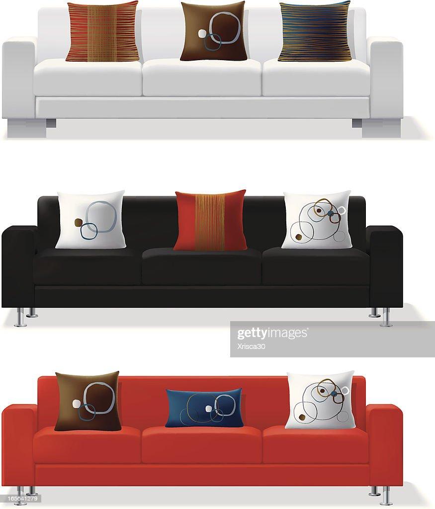 Modern Sofa And Throw Pillows : Vector Art