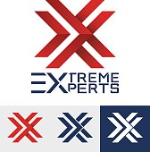 Modern styled logo for a sporty company. Letter X logo. Vector Icon Illustration