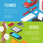 Modern technics and computer devices set isometric posters. Smart watch, laptop, tablet PC, usb drive, gamepad, mp3 player, wifi router vector illustration. Global social media and communication.
