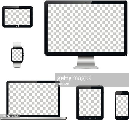 Modern technology devices with transparent wallpaper screen isolated : stock vector