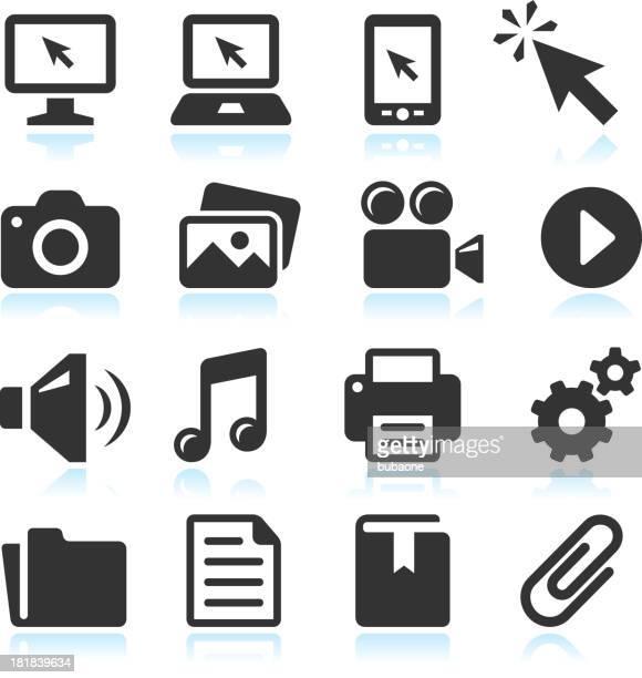 Modern Technology royalty-free vector arts black & white icon set
